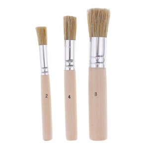3 Pieces/set Round Wooden Handle Oil Painting Acrylic Painting Brush Brushes Painting Tools for Kids Children Artist