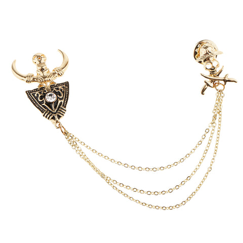 Image of Costume Party Tassel Crystal Rhinestone Bull Horn Boutonniere Pin