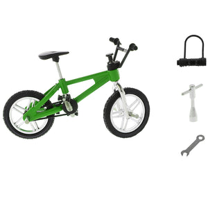 1:24 Scale Alloy Finger Bike Toy Mountain Bicycle Diecast Model w/Lock Wrench Desk Gadget Stocking Fillers –Green