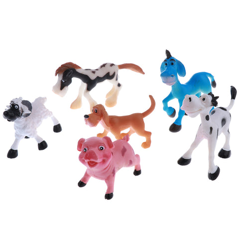 Image of 6 pcs Realistic Science Plastic Animal Model Figure Livestock  pig dog sheep cow donkey horse Figurine Children Educational Toy Decoration Collectibles
