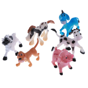 6 pcs Realistic Science Plastic Animal Model Figure Livestock  pig dog sheep cow donkey horse Figurine Children Educational Toy Decoration Collectibles