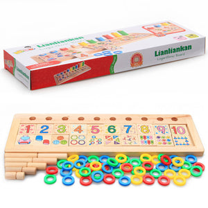Baby Wooden Doughnut Numbers Matching & Counting Jigsaw Puzzle Board Kids Math Learning Toy