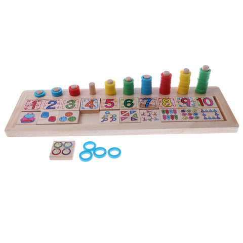 Image of Baby Wooden Doughnut Numbers Matching & Counting Jigsaw Puzzle Board Kids Math Learning Toy