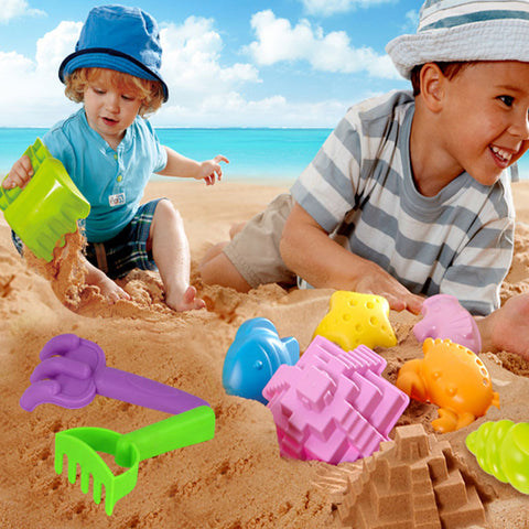 Image of Set of 8 Pieces Colorful Plastic Basket Castle Shovel Seaside Beach Sand Toy Set Outdoor Fun