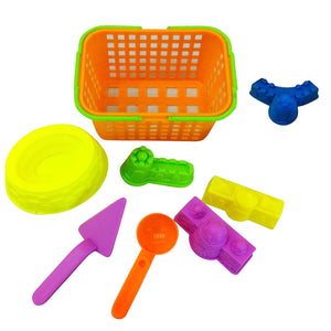 Set of 8 Pieces Colorful Plastic Basket Castle Shovel Seaside Beach Sand Toy Set Outdoor Fun