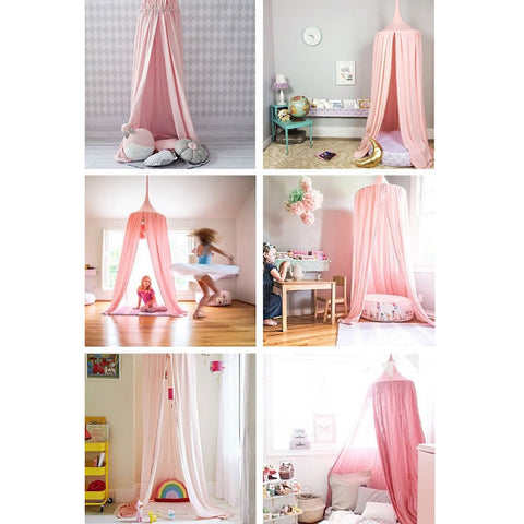 Image of Mosquito Net Bed Canopy Dome Princess Cotton Cloth Tent Kids Room Decor Pink