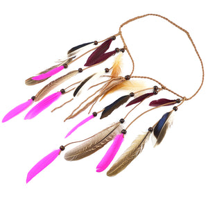 Bohemian Velvet Braided Band Feathers Gypsy Headband Hair Festival Jewelry Indian Women