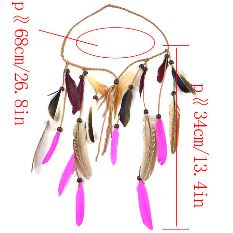 Image of Bohemian Velvet Braided Band Feathers Gypsy Headband Hair Festival Jewelry Indian Women