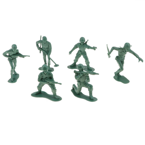 Image of Set of 6pcs Plastic Battlefield American Army Men Soldiers Army Base Set Toy Playset