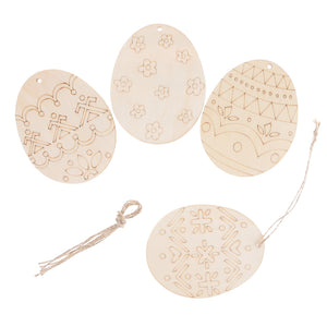 Pack of 4 Plain Easter Egg Wooden Tags Hanging Gift Label Party Gift Favor Tags