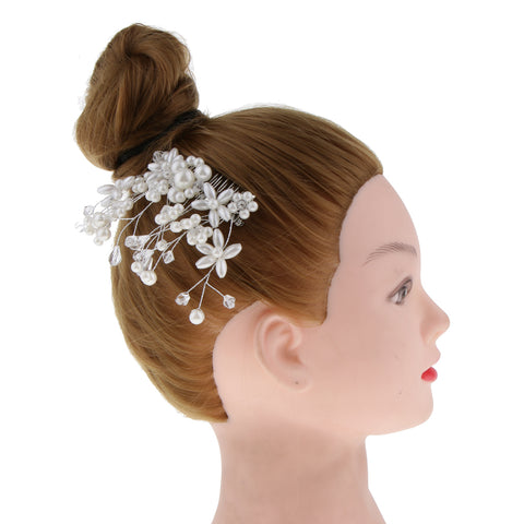 Image of Wedding Bridal Flower Hair Comb Filigree Simulated Pearls Rhinestone Jewelry Silver
