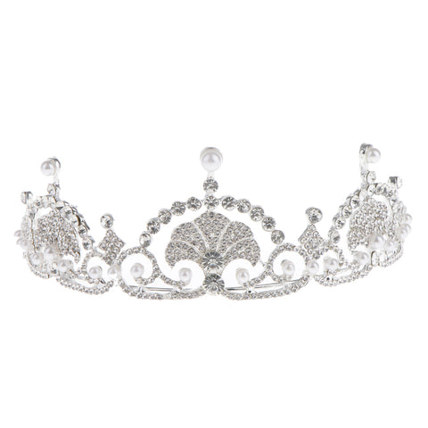 Image of Princess Crystal Pearls Hair Crown Tiara Headband Wedding Bridal Headpiece