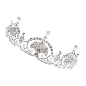 Princess Crystal Pearls Hair Crown Tiara Headband Wedding Bridal Headpiece