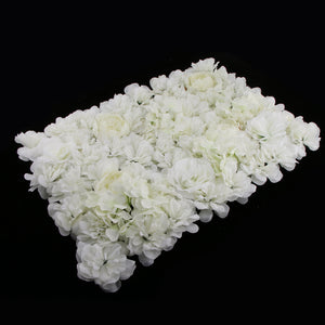 Artificial Rose Hydrangea Dahlia Flower Wall Panels Backdrop White