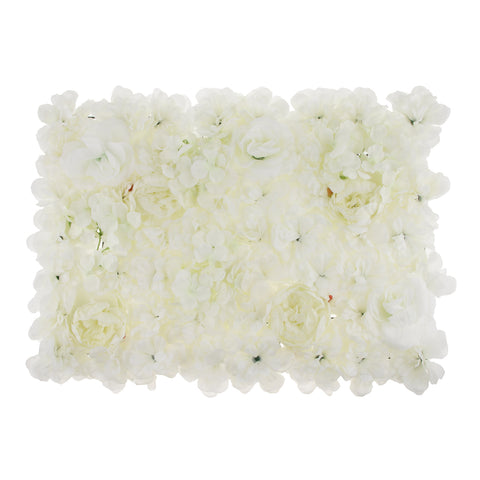 Image of Artificial Rose Hydrangea Dahlia Flower Wall Panels Backdrop White