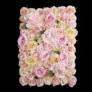 Artificial Rose Hydrangea Peony Flower Wall Panels Champagne