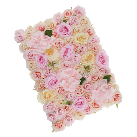 Image of Artificial Rose Hydrangea Peony Flower Wall Panels Champagne