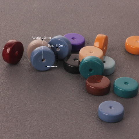 Image of 10 Piece Rondelle Shape Acrylic Loose Beads for DIY Jewelry Making Craft 14mm