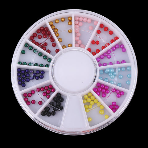 Image of 12 Colors Nail Art Flatback Pearls Manicure Beads DIY Scrapbooking Crafts