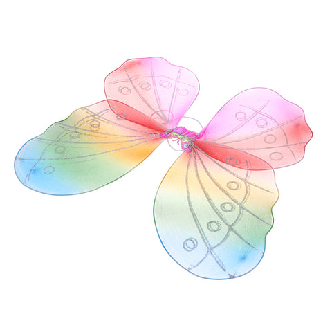 Image of Girls Fairy Butterfly Wing Rainbow Children Birthday Party Fancy Dress Up
