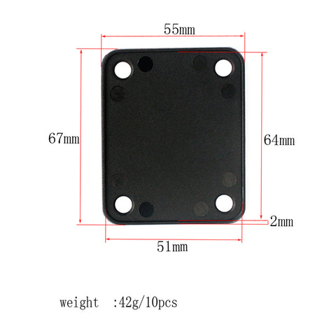 Image of 10 Pieces 4 Holes Plastic Neck Plate Gaskets Pads Black for Guitar Bass Accessory 2.63 x 2.16inch