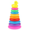 Adorable Yellow Duck Toy with 9 Plastic Rainbow Color Stacking Rings Tower Toy, Kids Toddler Bath Tub Play Toy Gift