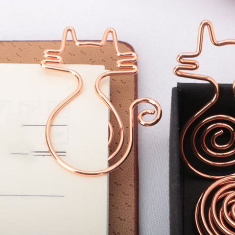 Image of 10 Pieces Premium Rose Gold Cute Cat Shapes Paper Clips,Smooth Stainless Steel Wire Paper Clips for Office School Students Girls Kids Paper Document Organizing Wedding