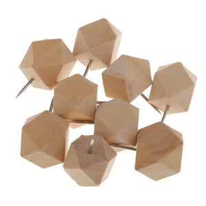 9 Pieces Wooden Push Pin Diamond Phombus Drawing Pins for Cork Board Map Office,bulletin board,fabric marking