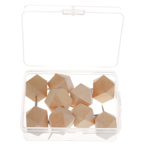 Image of 9 Pieces Wooden Push Pin Diamond Phombus Drawing Pins for Cork Board Map Office,bulletin board,fabric marking
