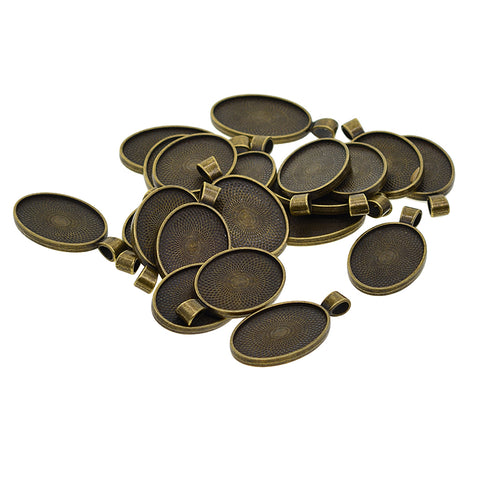 Image of 20 Pcs Alloy Blank Oval Cameo Jewelry Making Cabochon Base Setting Charm Pendants Trays Double Two-Sided For Gemstone Set Size 30 X 20 mm