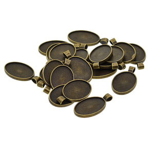 20 Pcs Alloy Blank Oval Cameo Jewelry Making Cabochon Base Setting Charm Pendants Trays Double Two-Sided For Gemstone Set Size 30 X 20 mm