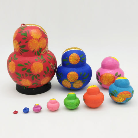 Image of Set of 10PCS Strawberry Printed Wooden Blank Russian Nesting Dolls Babushka Matryoshka Stacking Doll Kids Crafts