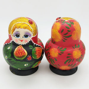 Set of 10PCS Strawberry Printed Wooden Blank Russian Nesting Dolls Babushka Matryoshka Stacking Doll Kids Crafts