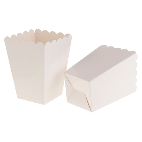 Image of Pack of 12 Pure White Birthday Baby Shower Summer Party Popcorn Treat Boxes