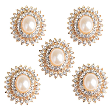 Image of 5 Pieces Alloy Rhinestone Pearl Buttons Embellishment for DIY Jewelry Craft 29mm