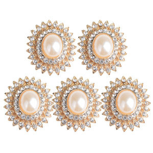 5 Pieces Alloy Rhinestone Pearl Buttons Embellishment for DIY Jewelry Craft 29mm