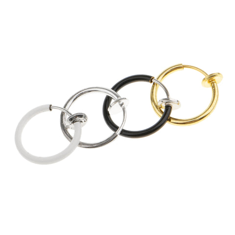 Image of 4 Pieces Non-Piercing Clip On Earrings Nose Alloy Ring Body Jewelry Hoop