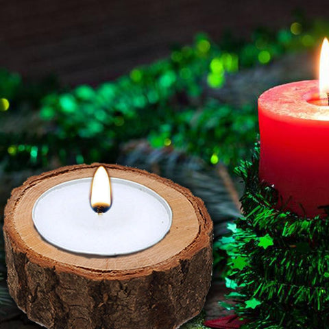 Image of 3x Natural Wood Stump Tea Light Candle Holder Candlestick Mini Succulent Pot for Garden Christmas Decoration