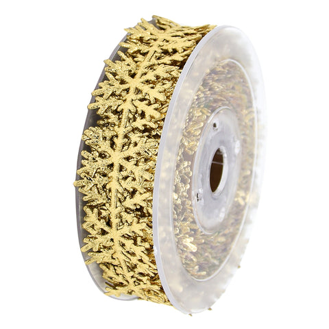 Image of 10 Meters Cut Out Snowflake Vine Lace Trim Sewing Ribbon Embellishment for Christmas Gift Wrapping Xmas Decoration Crafts Gold 25mm Wide