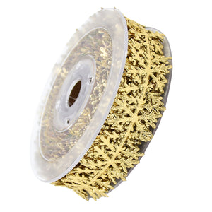 10 Meters Cut Out Snowflake Vine Lace Trim Sewing Ribbon Embellishment for Christmas Gift Wrapping Xmas Decoration Crafts Gold 25mm Wide