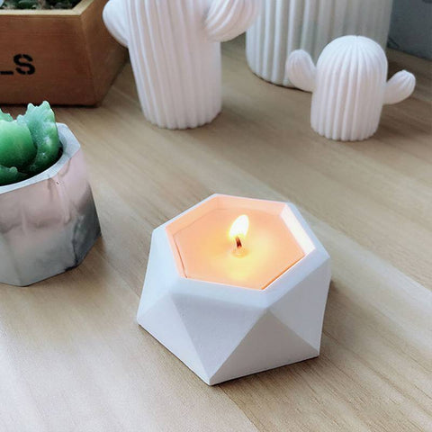 Image of 3D Hexagonal Shaped Silicone Mold Candlestick Plaster Concrete Flower Pot Mould Home Crafts Succulent Plants Decorations Handmade Candle Holder Mould Fondant Cake Mold