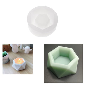 3D Hexagonal Shaped Silicone Mold Candlestick Plaster Concrete Flower Pot Mould Home Crafts Succulent Plants Decorations Handmade Candle Holder Mould Fondant Cake Mold