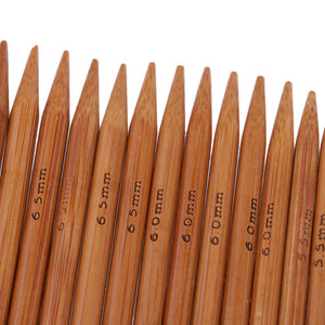 75 Pieces 15 Sizes 15cm Double Pointed Carbonized Smooth Bamboo Knitting Needles