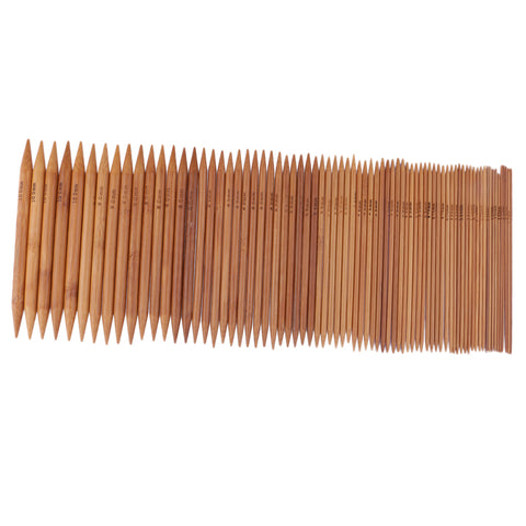 Image of 75 Pieces 15 Sizes 15cm Double Pointed Carbonized Smooth Bamboo Knitting Needles