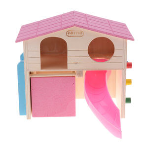 Fun Hamster Toy House with Ladder Wooden Cage Pet Small Animals Toy