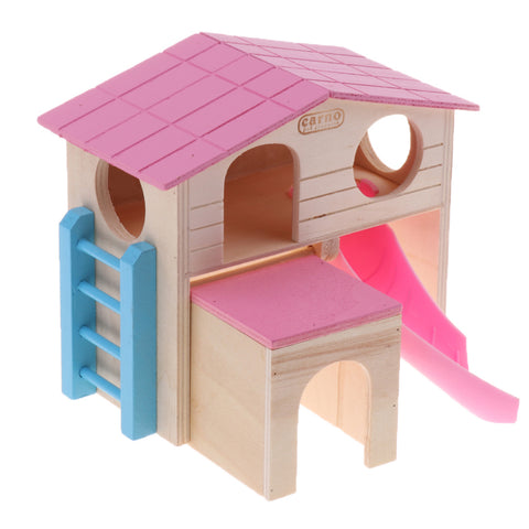 Image of Fun Hamster Toy House with Ladder Wooden Cage Pet Small Animals Toy