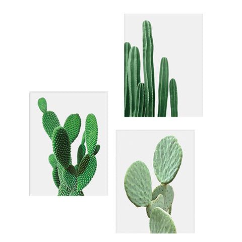 Image of 3pcs Canvas Painting Cactus Decor Nordic Plants Wall Art Cactus Decoration Unframed