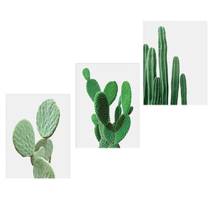 3pcs Canvas Painting Cactus Decor Nordic Plants Wall Art Cactus Decoration Unframed