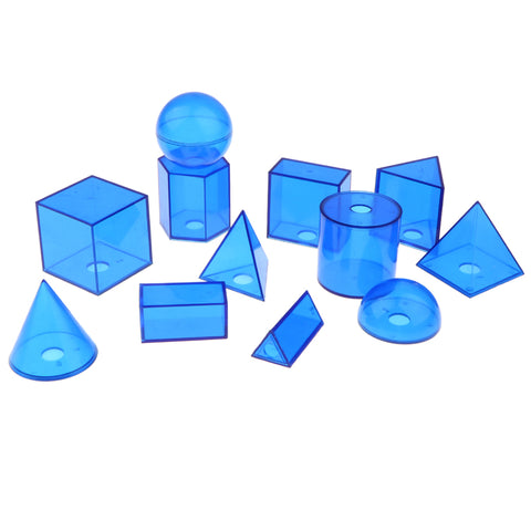 12pcs Geometric Solids - Volume Shape Learning Math Geometry Visual Aids Mathematics Teaching Tool Kid Educational Cognitive Toy