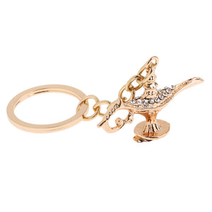 Aladdin Lamp Key Chains for Lover Car Rhinestone Good Lucky Key Rings Holder